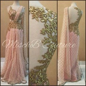 Wedding dress. Pink draped gown. hand embroidered